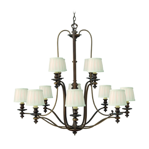 Hinkley Lighting Chandelier with White Shades in Royal Bronze Finish 4599RY
