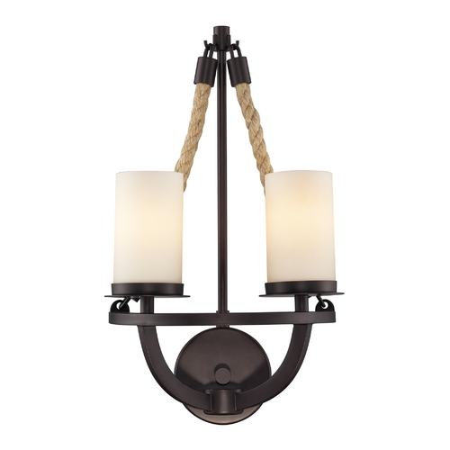 Elk Lighting Sconce Wall Light with White Glass in Aged Bronze Finish 63040-2