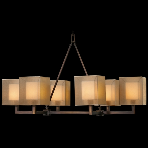 Fine Art Lamps Fine Art Lamps Quadralli Rich Bourbon with Golden Highlights Island Light with Square Shade 331440ST