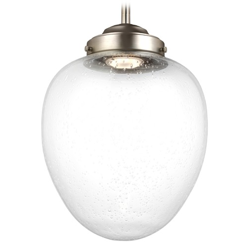Feiss Lighting Feiss Lighting Alcott Satin Nickel LED Mini-Pendant Light with Oval Shade P1399SN-LED