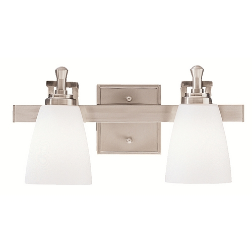 Kichler Lighting Kichler Bathroom Light with White Glass in Brushed Nickel Finish 5402NI