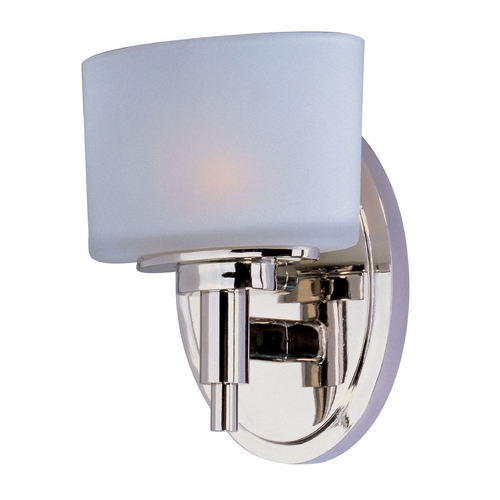 Maxim Lighting Sconce Wall Light with White Glass in Polished Nickel Finish 9021SWPN
