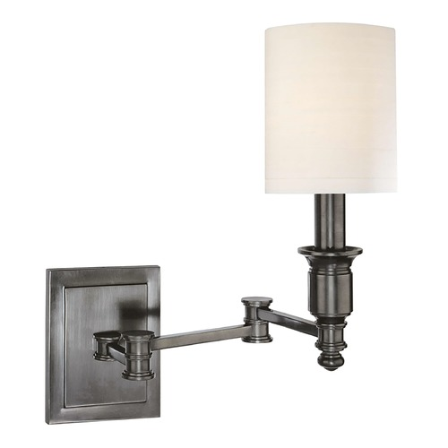 Hudson Valley Lighting Swing Arm Lamp with White Shade in Antique Nickel Finish 7511-AN