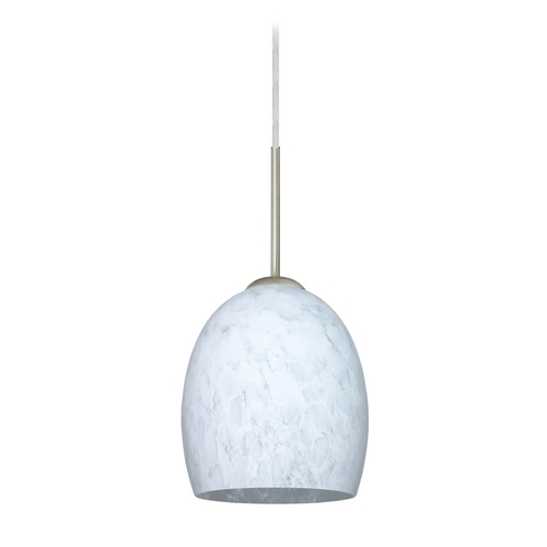 Besa Lighting Modern Pendant Light with White Glass in Satin Nickel Finish 1JT-169719-SN