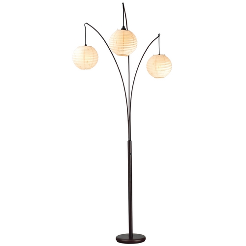 Adesso Home Lighting Modern Floor Lamp with Beige / Cream Paper Shades in Antique Bronze Finish 4101-26