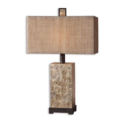 Uttermost Lighting Mother of Pearl Table Lamp with Burlap Rectangle Shade 27347-1