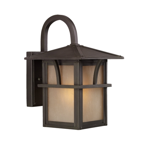 Sea Gull Lighting Outdoor Wall Light with Amber Glass in Statuary Bronze Finish 88880-51
