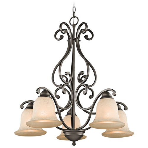 Kichler Lighting Kichler Chandelier with White Scavo Glass in Olde Bronze Finish 43225OZ