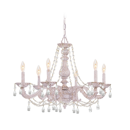 Crystorama Lighting Crystal Chandelier in Antique White Finish 5026-AW-CL-MWP
