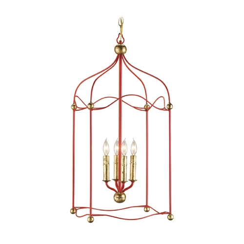Currey and Company Lighting Modern Pendant Light in Lollipop Red / Gold Leaf Finish 9033