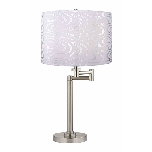 Design Classics Lighting Swing-Arm Table Lamp with Silver Wave Lamp Shade 1902-09 SH9497