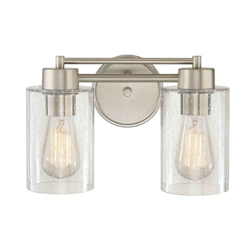 Design Classics Lighting Seeded Glass Bathroom Light Satin Nickel  2 Lt 702-09 GL1041C