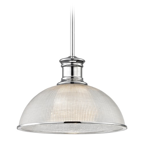 Design Classics Lighting Prismatic Glass Chrome Pendant Light 13.13-Inch Wide 1761-26 G1780-FC R1780-26