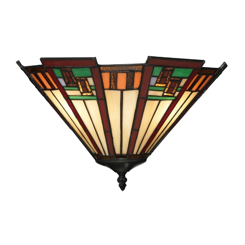 Elk Lighting Sconce Wall Light with Multi-Color Glass in Tiffany Bronze Finish 70115-2