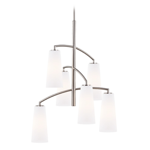 Feiss Lighting Feiss Lighting Coddington Brushed Steel Mini-Chandelier F2949/6BS