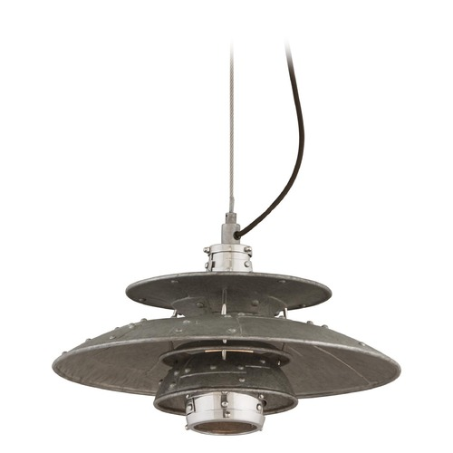 Troy Lighting Troy Lighting Idlewild Aviation Gray and Vintage Aluminum LED Pendant Light with Bowl / Dome Shade F4733