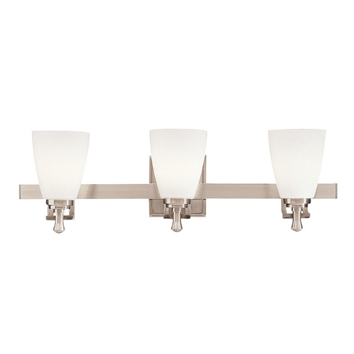 Kichler Lighting Kichler Bathroom Light with White Glass in Brushed Nickel Finish 5403NI