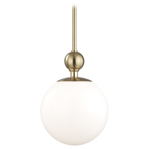 Hudson Valley Lighting Mid-Century Modern Pendant Light Brass Mitzi Daphne by Hudson Valley Lighting H118701L-AGB