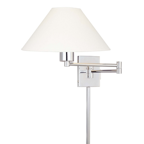 George Kovacs Lighting Modern Swing Arm Lamp with White Shade in Chrome Finish P4358-1-077