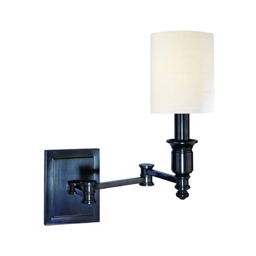 Hudson Valley Lighting Swing Arm Lamp with White Shade in Old Bronze Finish 7511-OB