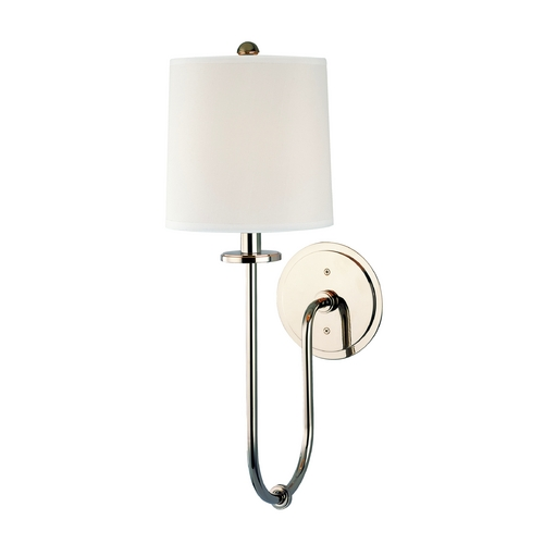 Hudson Valley Lighting Sconce Wall Light with White Shade in Polished Nickel Finish 511-PN