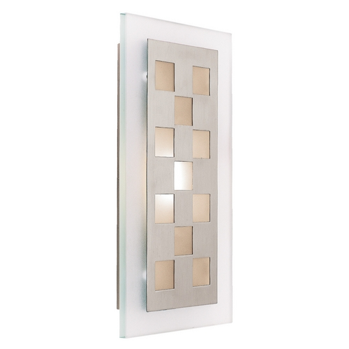 Access Lighting Sconce Wall Light with White Glass in Brushed Steel Finish 62095-BS/FST