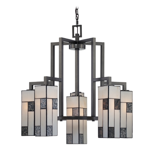 Designers Fountain Lighting Chandelier with Art Glass in Charcoal Finish 84186-CHA