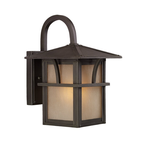 Sea Gull Lighting Outdoor Wall Light with Amber Glass in Statuary Bronze Finish 88880BLE-51