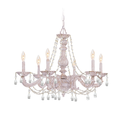Crystorama Lighting Crystal Chandelier in Antique White Finish 5026-AW-CL-SAQ