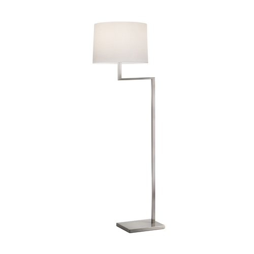 Sonneman Lighting Modern Swing Arm Lamp with White Shade in Satin Nickel Finish 6426.13