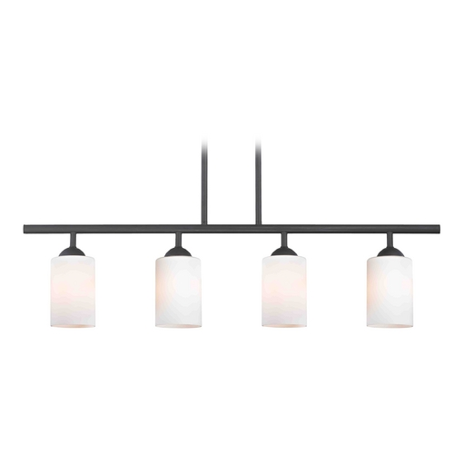 Design Classics Lighting Modern Island Light with White Glass in Matte Black Finish 718-07 GL1024C