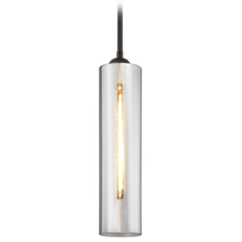 Design Classics Lighting Bronze Mini-Pendant Light with Smoke Cylinder Glass 581-220 GL1652C