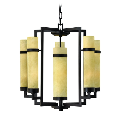 Hinkley Lighting Chandelier with Beige / Cream Glass in Rustic Iron Finish 4095RI