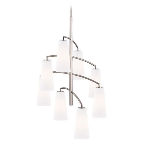 Feiss Lighting Feiss Lighting Coddington Brushed Steel Mini-Chandelier F2950/8BS