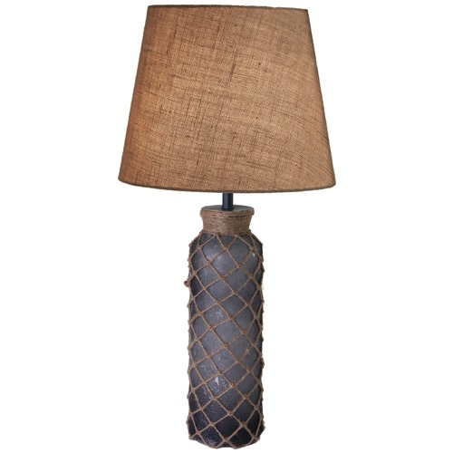 Kenroy Home Lighting Kenroy Home Lighting Bates Aged Blue Glass with Rope Accents Table Lamp with Empire Shade 32438BLU