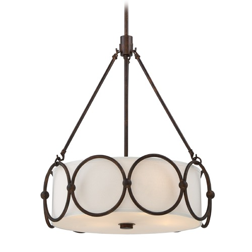 Quoizel Lighting Quoizel Lighting Adams Leathered Bronze Pendant Light with Drum Shade ADA2820LN