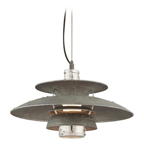 Troy Lighting Troy Lighting Idlewild Aviation Gray and Vintage Aluminum LED Pendant Light with Bowl / Dome Shade F4734