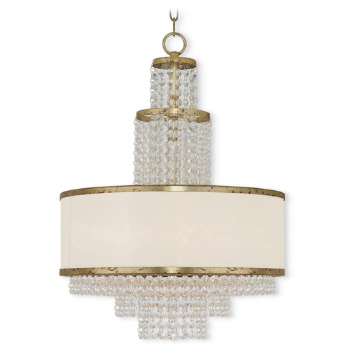 Livex Lighting Livex Lighting Prescott Hand Applied Winter Gold Pendant Light with Drum Shade 50785-28