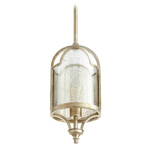 Quorum Lighting Quorum Lighting Aged Silver Leaf Mini-Pendant Light with Cylindrical Shade 3003-60