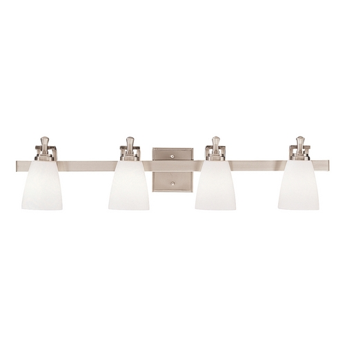 Kichler Lighting Kichler Bathroom Light with White Glass in Brushed Nickel Finish 5404NI