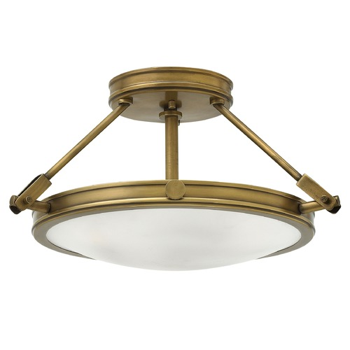 Hinkley Industrial Brass LED Semi-Flushmount Light by Hinkley 3381HB-LED