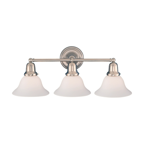 Hudson Valley Lighting Bathroom Light with White Glass in Satin Nickel Finish 583-SN-415