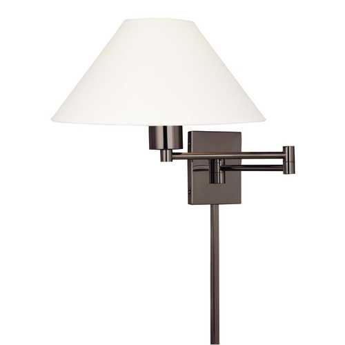 George Kovacs Lighting Modern Swing Arm Lamp with White Shade in Chocolate Chrome Finish P4358-1-631