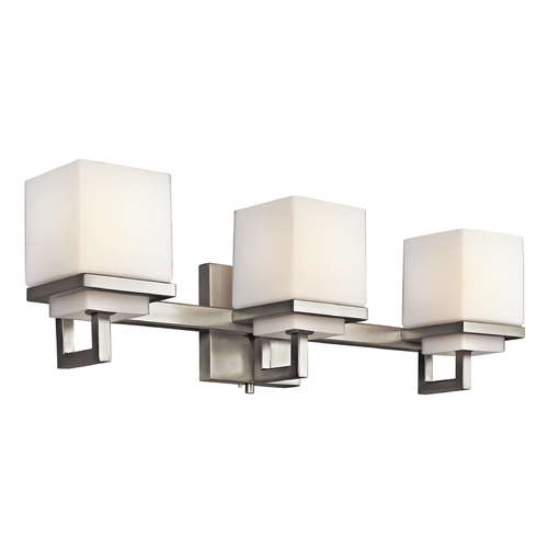 Kichler Lighting Kichler Brushed Nickel Modern Bathroom Light with White Glass 45139NI