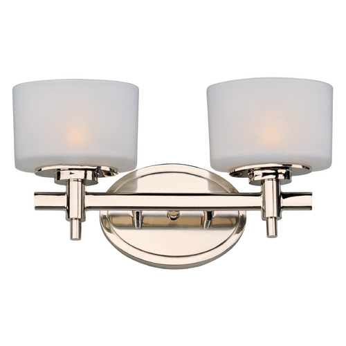 Maxim Lighting Bathroom Light with White Glass in Polished Nickel Finish 9022SWPN