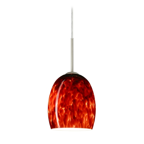 Besa Lighting Modern Pendant Light with Red Glass in Satin Nickel Finish 1JT-169741-SN