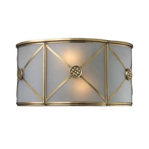 Elk Lighting Sconce Wall Light with Beige / Cream Glass in Brushed Brass Finish 22000/2