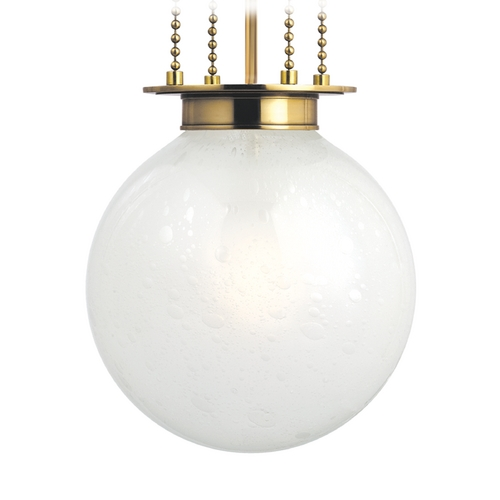 Hudson Valley Lighting Pendant Light with White Glass in Aged Brass Finish 4214-AGB-FB
