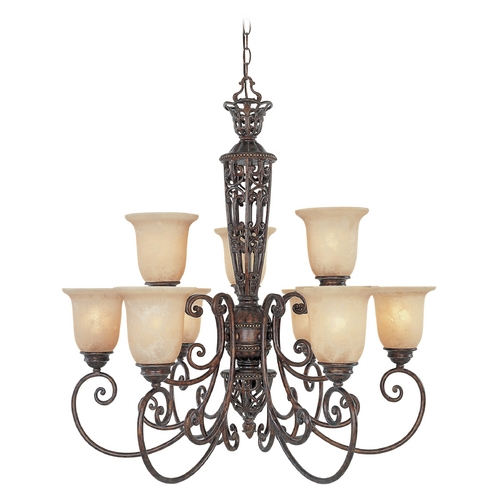 Designers Fountain Lighting Chandelier with Beige / Cream Glass in Burnt Umber Finish 97589-BU