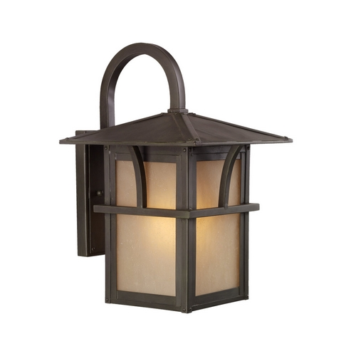 Sea Gull Lighting Outdoor Wall Light with Amber Glass in Statuary Bronze Finish 88881-51